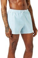 Topman Men's Spliced Seersucker Swim Trunks