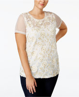 INC International Concepts Plus Size Embroidered Metallic Top, Only at Macy's