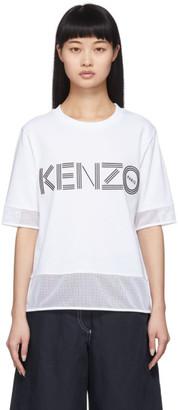 Kenzo White Dual Material Logo T-Shirt