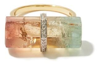 Jade Jagger Diamond, Watermelon Tourmaline & 18kt Gold Ring - Multi
