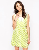 Iska Palm Print Dress with Collar