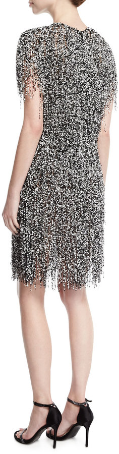 Naeem Khan Fringed Short-Sleeve Cocktail Dress