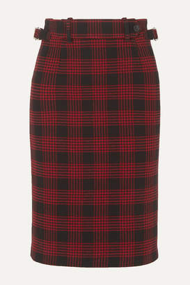 RED Valentino Buckled Checked Tweed Skirt