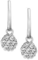 Macy's 14k White Gold Diamond Cluster Drop Earrings (1/2 ct. t.w.)