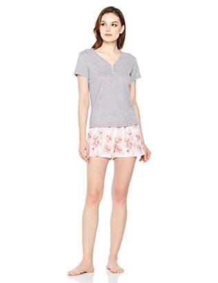 Selene Women's Soft Sleepwear V-Neck Tunic T-Shirt and Floral Print Short Pajama Set XL