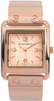 Journee Collection Womens Crystal-Accent Square Dial Stainless Steel Watch