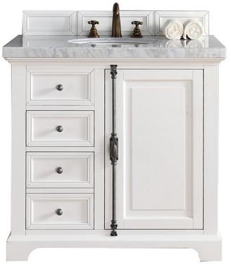 "James Martin Vanities Providence 36"" Vanity, Cottage White, 3cm Charcoal Soapstone Quartz To"