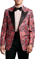 Tom Ford Floral-Print Hopsack Tuxedo Jacket, Pink Pattern