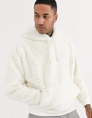 BEIGE ASOS DESIGN oversized faux fur hoodie in