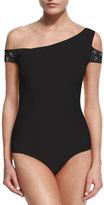 Chiara Boni La Petite Robe Eline Off-the-Shoulder Jeweled One-Piece Swimsuit