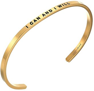 MantraBand I Can and I Will Cuff (Silver) Bracelet