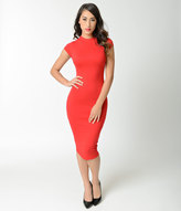 Unique Vintage Retro Style Red High Neck Cap Sleeve Wiggle Dress