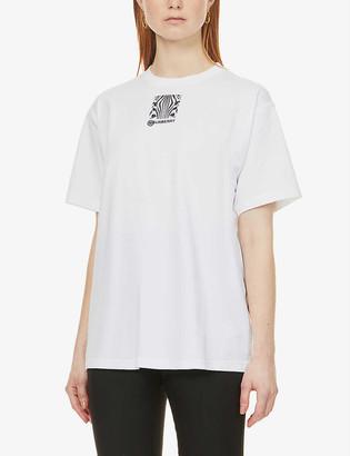 Burberry Montage zebra-print oversized cotton-jersey T-shirt