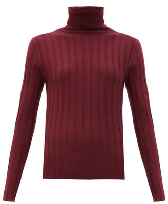 Allude Roll-neck Ribbed-wool Sweater - Burgundy