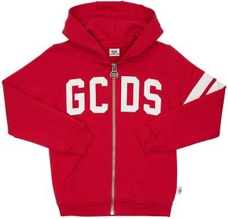 GCDS Logo Print Zip-up Cotton Sweatshirt