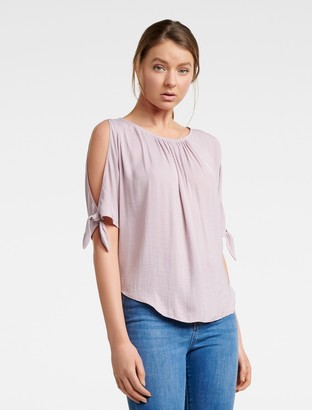 Forever New Simona Cold Shoulder Tie-Sleeve Top - Lilac - 4