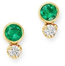Zoë Chicco 14K Yellow Gold Emerald & Diamond Stud Earrings