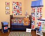 Bacati Transportation Multicolor 10 pc Crib Set Bumper free