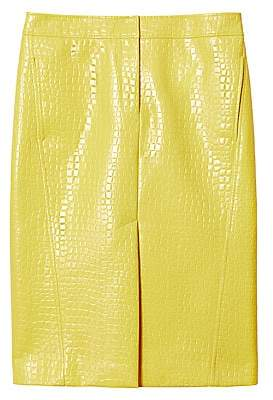 Tibi Women's Crocodile-Embossed Patent Midi Skirt