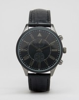Asos Watch In Mixed Metal Finish With Black Croc Strap
