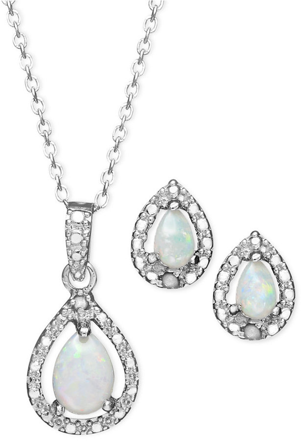 Townsend Victoria Sterling Silver Jewelry Set, Opal (5/8 ct. t.w.) and Diamond Accent Teardrop Pendant and Earrings Set