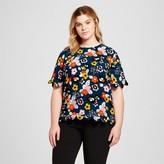 Victoria Beckham for Target Women's Plus Dark Floral Scallop Trim Top