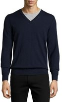Burberry Dockley Wool V-Neck Sweater, Navy