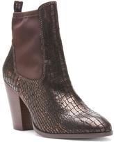 Donald J Pliner Women's SENOR - Antique Metallic Croco and Crepe Elastic Bootie