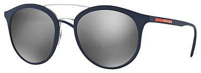 Prada Linea Rossa PS 04RS Oval Sunglasses, Navy/Silver