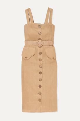 Nicholas Belted Linen Midi Dress - Sand