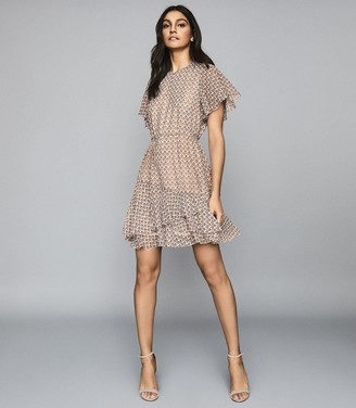 Reiss ANNA PRINTED MINI DRESS Cream Print