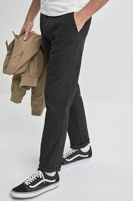 Next Mens Black Straight Fit Comfort Waist Stretch Chinos - Black