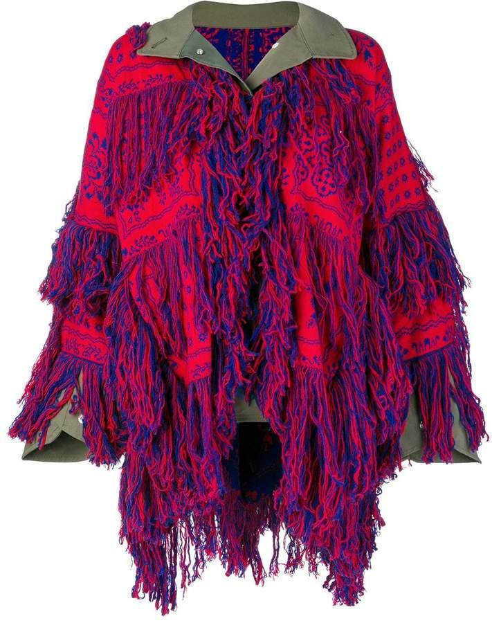 Sacai fringed embroidered cardigan