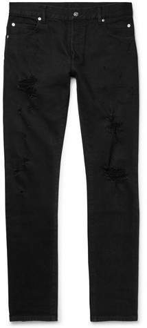 Balmain Distressed Denim Jeans - Black