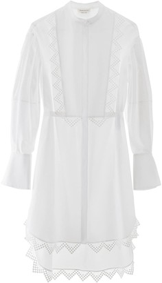 Alexander McQueen MAXI SHIRT WITH LACE DETAILS 40 White Cotton