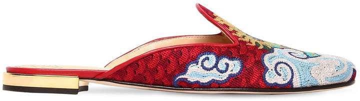Charlotte Olympia 10mm Dragon Embroidered Canvas Mules