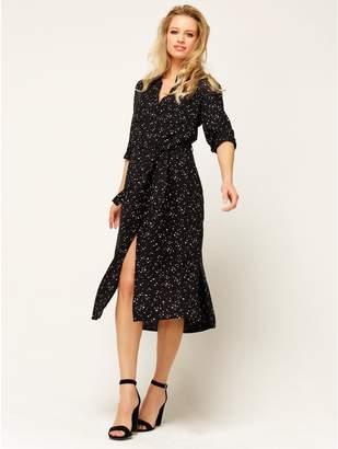 M&Co Star print midi shirt dress
