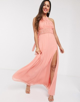 ASOS DESIGN halter neck ruched waist maxi dress with pleat skirt