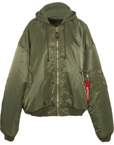 Vetements + Alpha Industries Oversized Hooded Reversible Shell Bomber Jacket - Army green