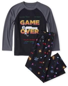 Children's Place The Long sleeve raglan printed 'game over' 2 piece pajama set (little boy & big boy)