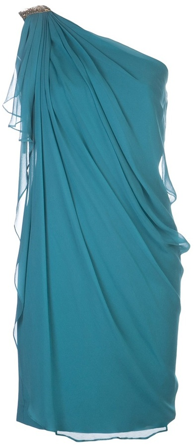 Notte by Marchesa draped one shoulder dress