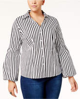 INC International Concepts Plus Size Striped Bell-Sleeve Shirt, Created for Macy's