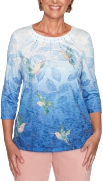 Alfred Dunner Pearls of Wisdom Hummingbird-Print Embellished Top