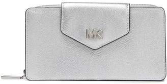 MICHAEL Michael Kors Logo-embellished Metallic Textured-leather Wallet