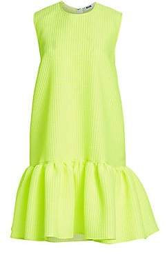 MSGM Women's Neon Sleeveless Drop Waist Dress