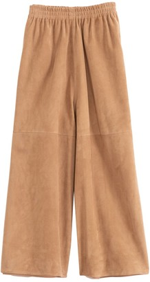 Co Suede Wide Leg Cropped Pant in Taupe