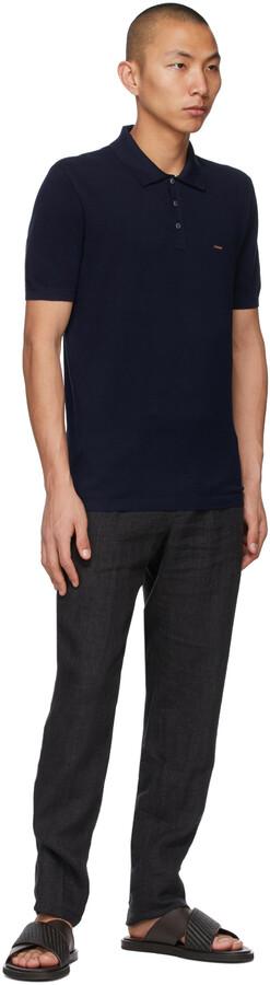 Thumbnail for your product : Ermenegildo Zegna Couture Navy Short Sleeve Polo