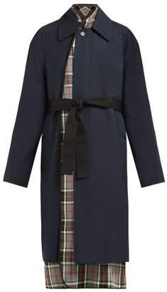 Balenciaga Layered Cotton Twill Trench Coat - Womens - Navy Multi