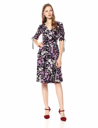 Donna Morgan Women's Floral Jersey Wrap Dress
