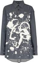Angel Chen Shepherd paint-splatter denim shirt